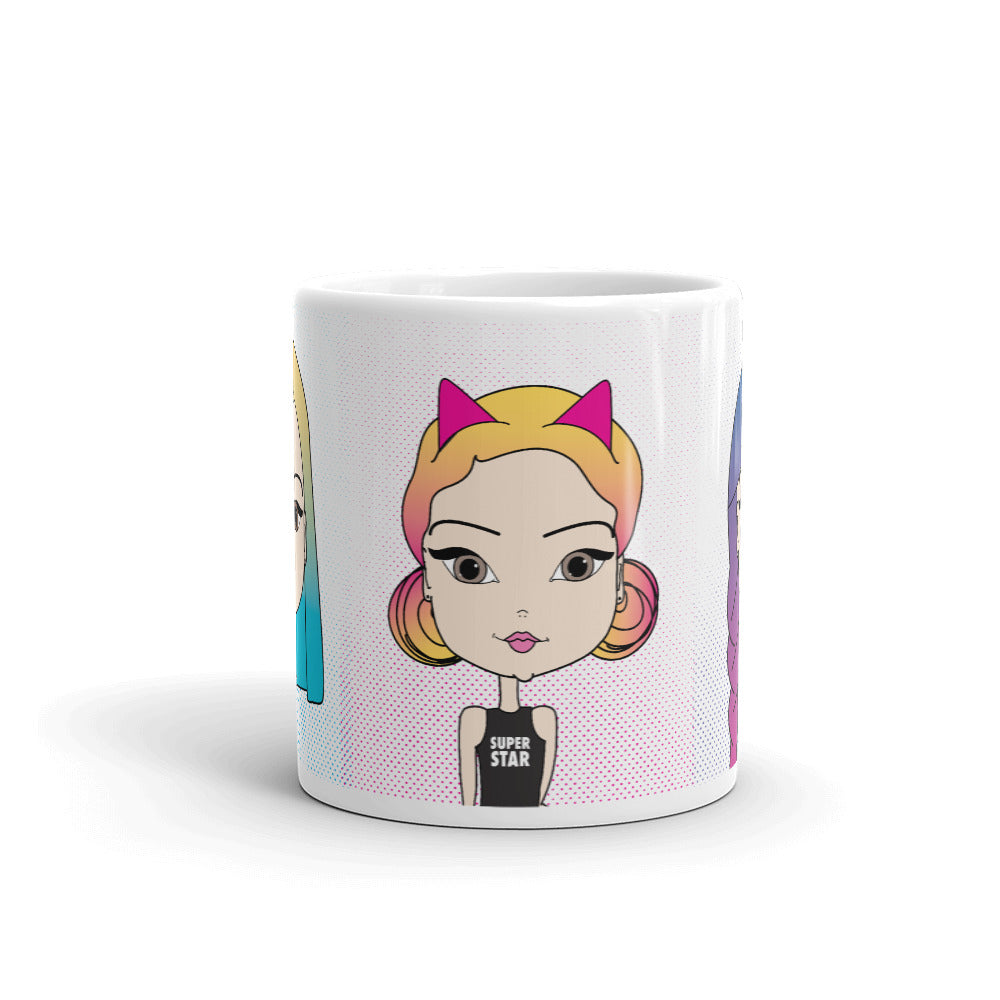 Cute Coffee Mug with Pincurl Girl Illustrations - Pincurl Girls - Inspiring Girls to Love Themselves