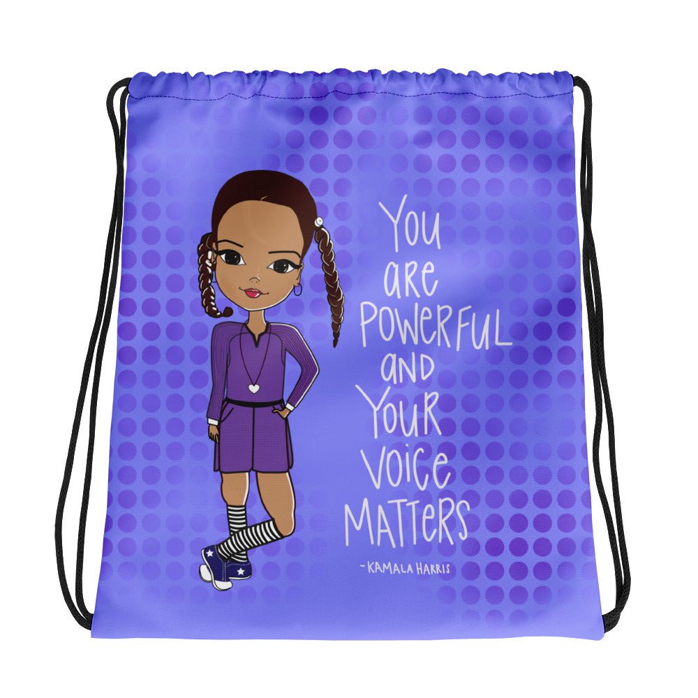 Kamala Harris Quote Drawstring bag