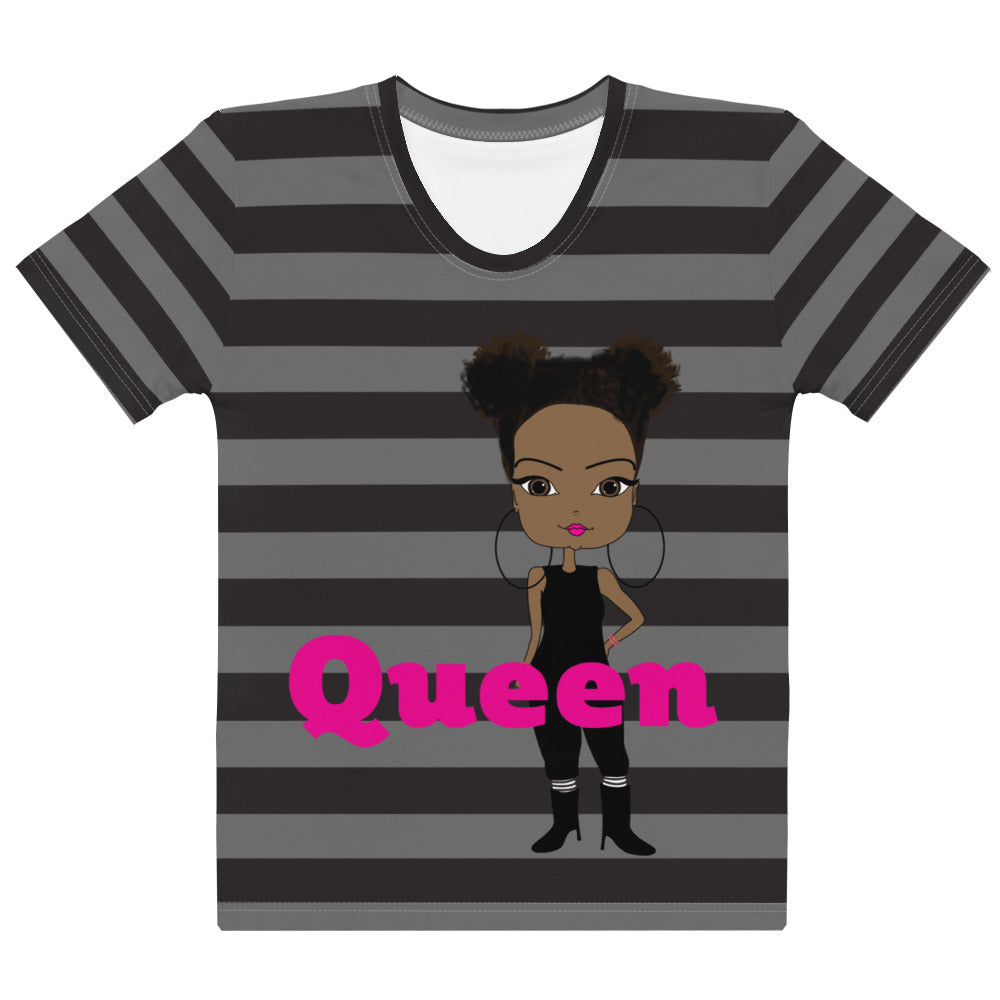 African American Queen Grey and Black Striped Women's T-shirt - Pincurl Girls - Inspiring Girls to Love Themselves