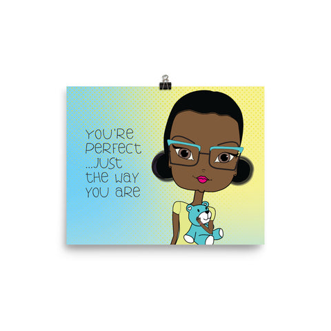 You Are Perfect Just the Way You Are Wall Art Print with Cute Black Girl Illustration