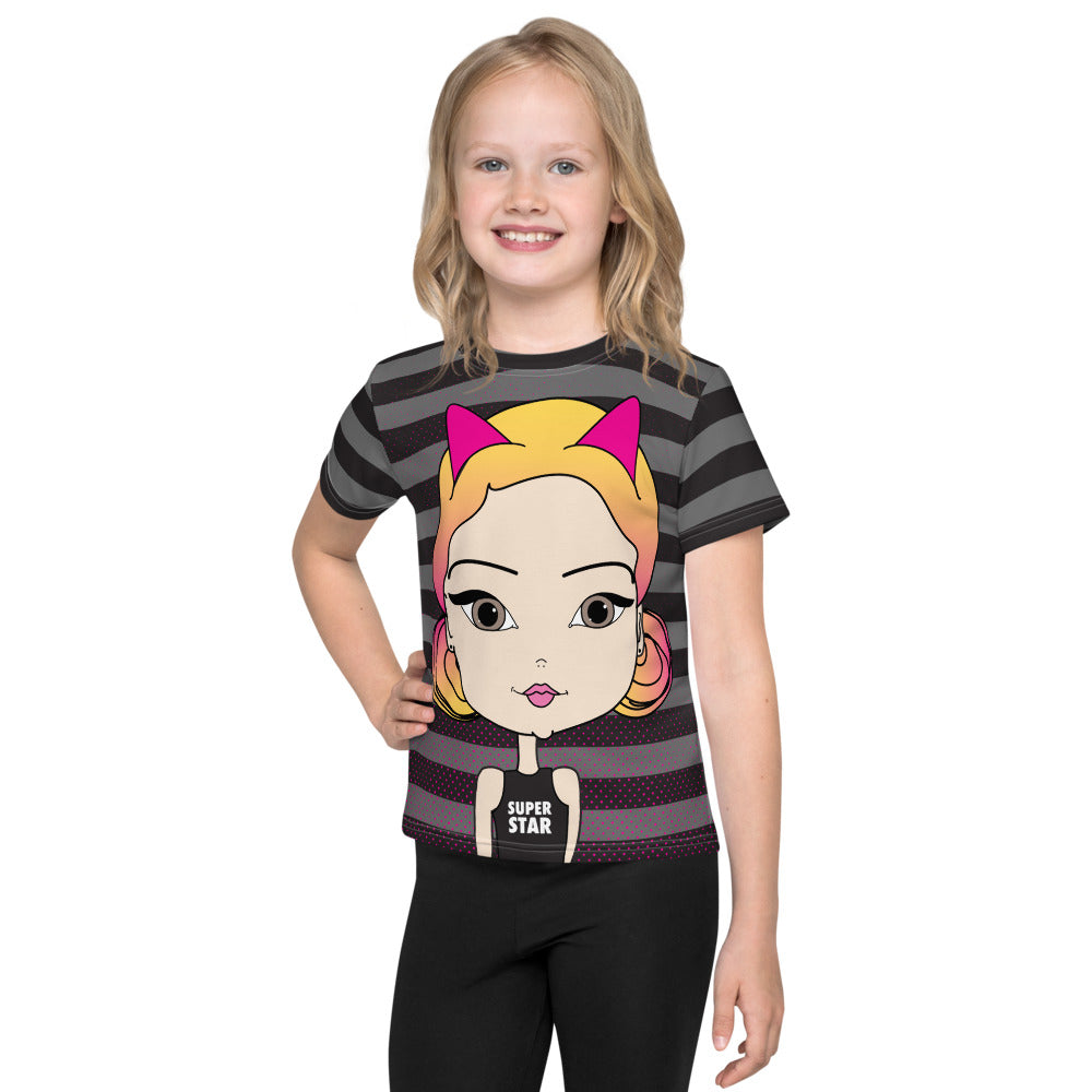 Superstar Black and White Stripes with Pincurl Girl Illustration Kids T-Shirt