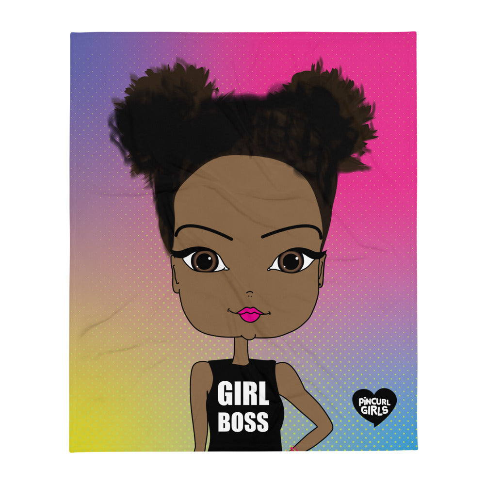 African American Girl Boss Throw Blanket