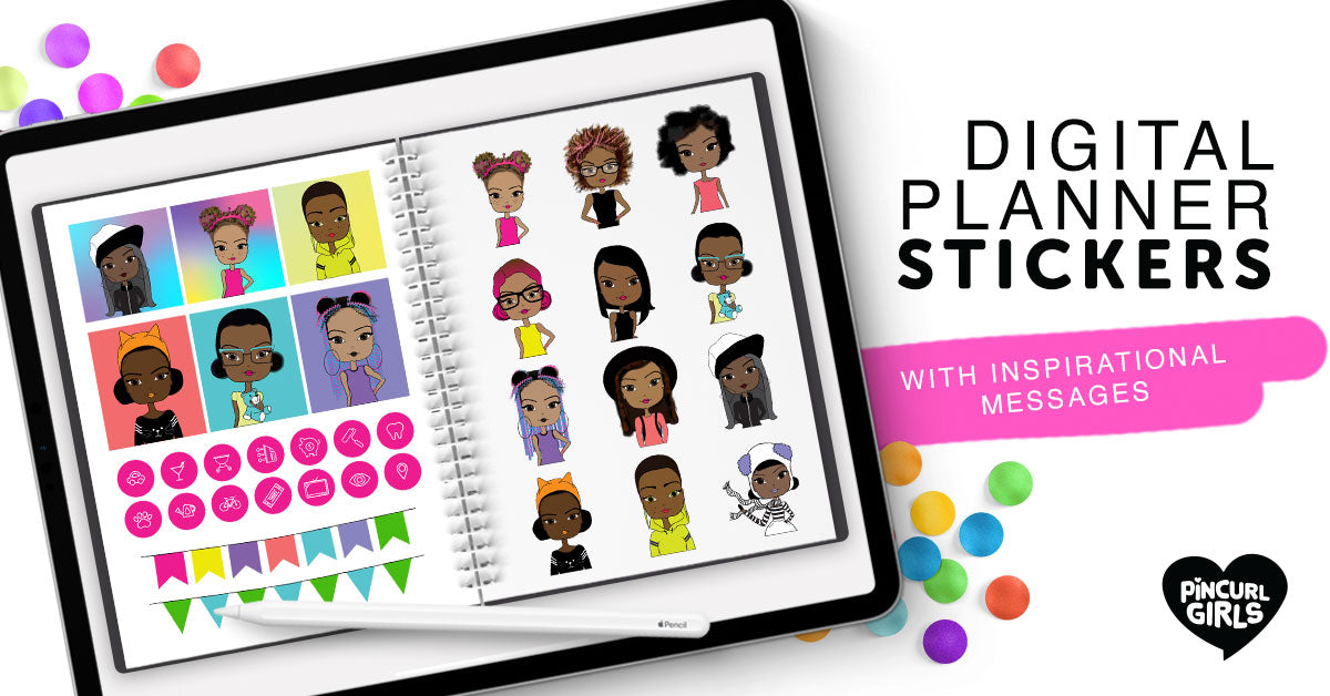 Digital Planner Stickers, Digital Stickers for GoodNotes, Individual PNG Files, Precropped Stickers, African American with Positive Quotes