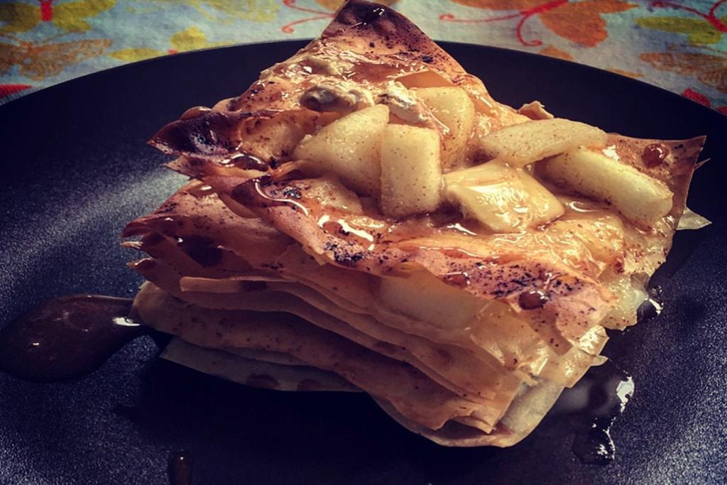 Millefoglie Pere e Brie (Millefoglie with pears and brie)
