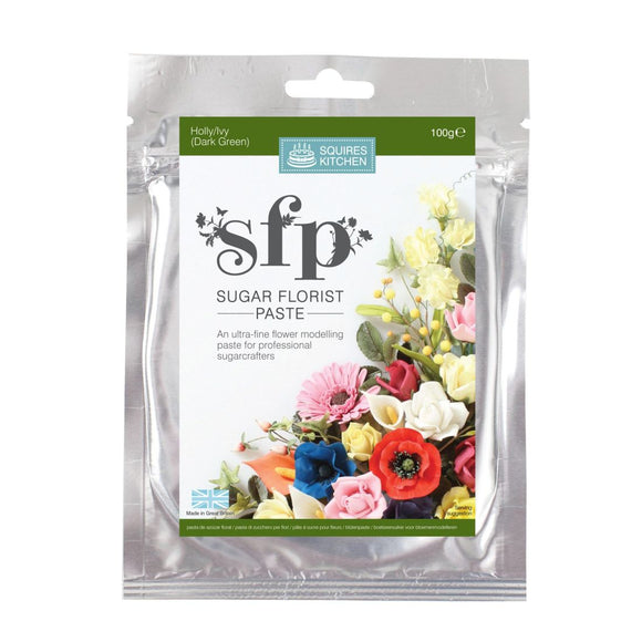 Squires Kitchen Sugar Florist Paste SFP Gum Paste modelling paste Holly/Ivy (Dark Green)
