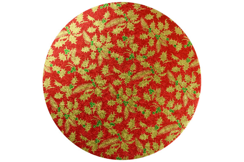 Christmas Cake Drum - Round - 12 inch - Red and Gold Holly - x1