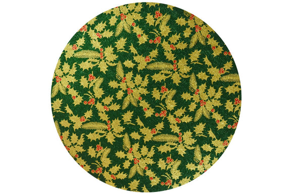 Christmas Cake Drum - Round - 12 inch - Green and Gold Holly - x1