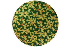 Christmas Cake Drum - Round - 10 inch - Green and Gold Holly - x1