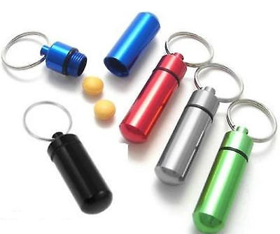 Aluminium cash pill CAPSULE waterproof money key ring tablet container emergency - Things4craft.co.uk - 1