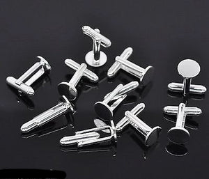 Cufflink Findings Cuff Link Blank Backs 10mm Plate Round Bar with U Arm Type - Things4craft.co.uk - 1