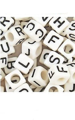 LETTER White Cube ALPHABET BEADS 6mm Sold By Letter - - Things4craft.co.uk - 1