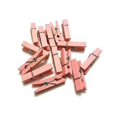 Pale Pink mini pegs 3 5cm wood small wooden peg clip clamp wood