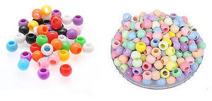 ACRYLIC PONY BEADS 8mm or 10mm HAIR BRAID Small Bead Mixed Colour - - Things4craft.co.uk