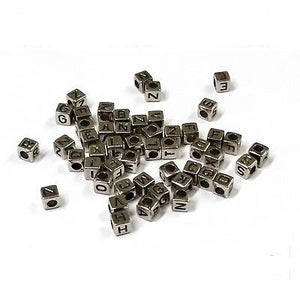 Acrylic SINGLE LETTER A-Z Silve Cube ALPHABET BEADS 6mm Choose 50,100, 200, 500 - Things4craft.co.uk - 1