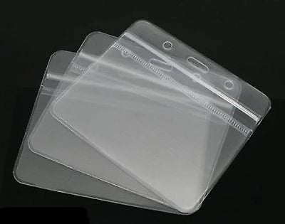 ID Badge Card 98x79mm Plastic Pocket Holder Clear Pouches for lanyards - Things4craft.co.uk - 1