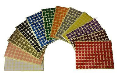 16mm Coloured Dot Stickers Round Sticky Adhesive Spot Circles Paper Label - Things4craft.co.uk - 1