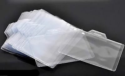 VALUE Clear ID Badge Card Plastic Horizontal Pocket Holder 9.5 x 7cm - Things4craft.co.uk - 1