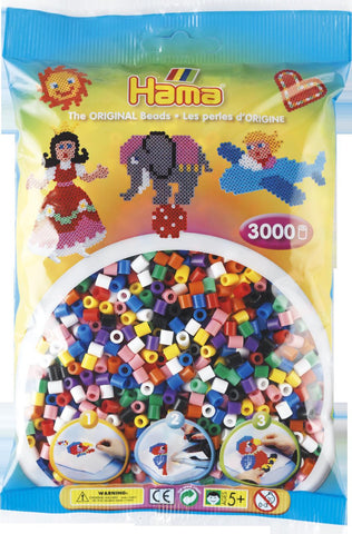 Solid Mix Hama Beads - 201-00 - 3000 Per Bag (Approx)