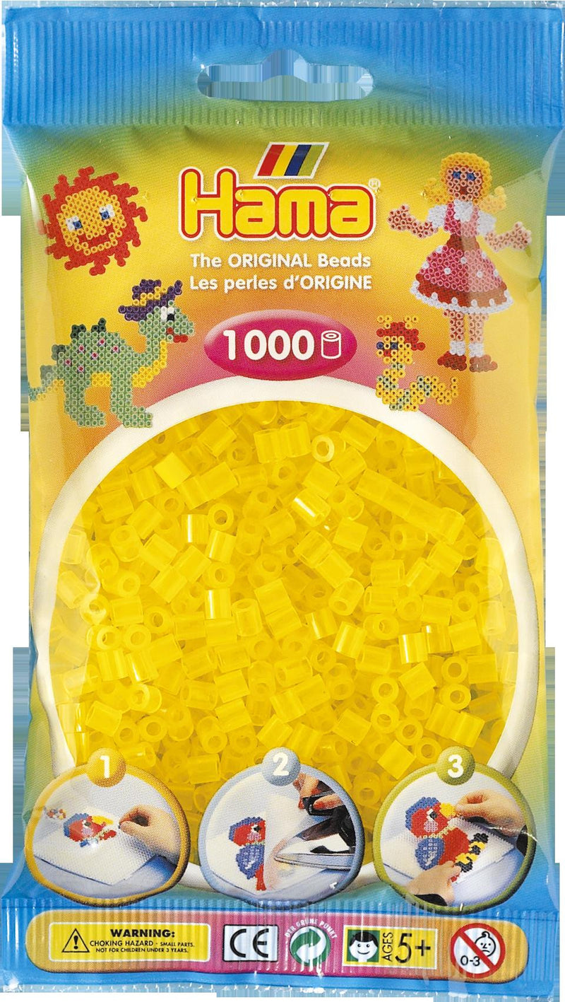 Translucent Yellow Hama Beads - 207-14 - 1000 Per Bag (Approx)