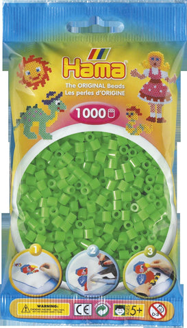 Flou. Green Hama Beads - 207-42 - 1000 Per Bag (Approx)
