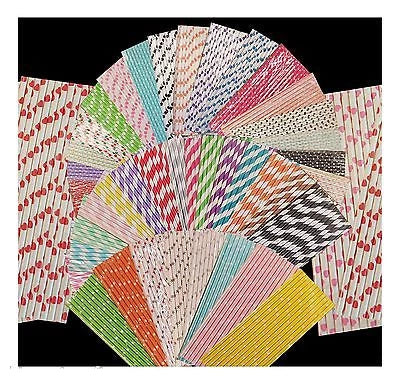 25 STRIPE POLKA HEART RETRO VINTAGE PARTY DRINKING PAPER STRAWS BIRTHDAY WEDDING