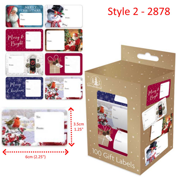 Traditional Christmas Gift Labels - 100 Self Adhesive Stickers