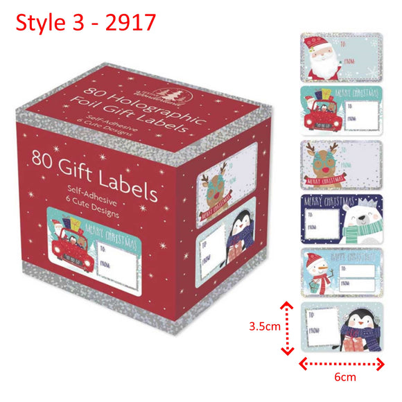 Cute Christmas Gift Labels - 80 Self Adhesive Stickers