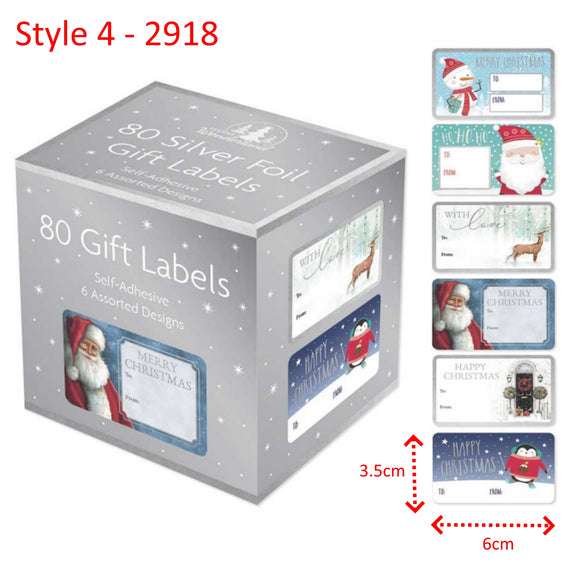 Traditional Christmas Gift Labels - 80 Self Adhesive Stickers