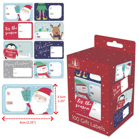 Christmas Gift Labels - 100 Self Adhesive Stickers