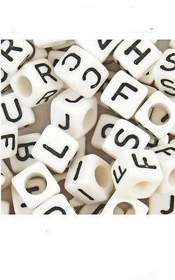 Acrylic SINGLE LETTER A-Z White Cube ALPHABET BEADS 6mm Choose 50,100, 200, 500 - Things4craft.co.uk - 1