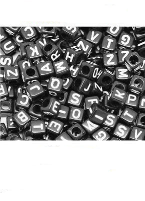 New Acrylic SINGLE LETTER A-Z Black Cube ALPHABET BEADS 6mm Craft Bead - Things4craft.co.uk - 1