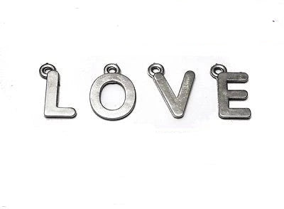 Metal Look Acrylic Pendants Alphabets Letters Choose Letters Charms PACK OF 10 - Things4craft.co.uk