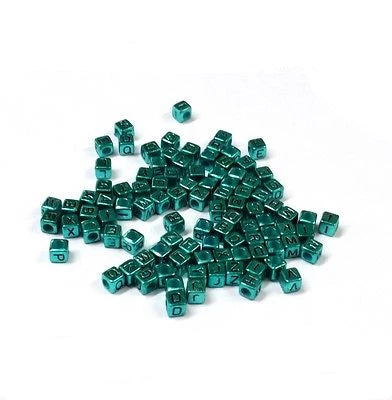 Acrylic SINGLE LETTER A-Z Green Turquoise Cube ALPHABET BEADS 6mm - Things4craft.co.uk - 1