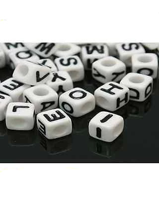 Acrylic SINGLE LETTER A-Z White Cube ALPHABET BEADS 7mm Choose 50,100, 200, 500 - Things4craft.co.uk - 1