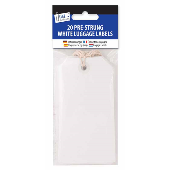 20 White Luggage Labels 12 x 6cm