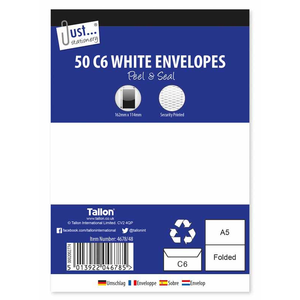 50 C6 White Peal & Seal Envelopes 80gsm