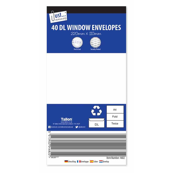 40 x DL White Window Peal & Seal Envelopes 80gsm