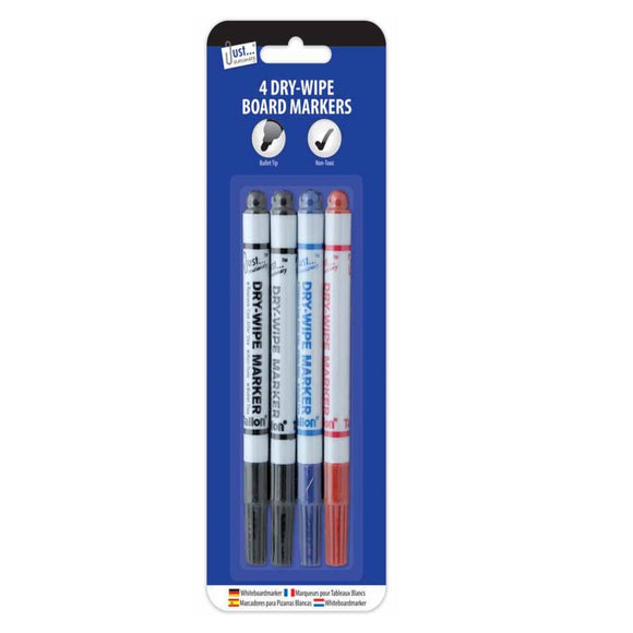 4 Dry Wipe Whiteboard Markers - Assorted Colours