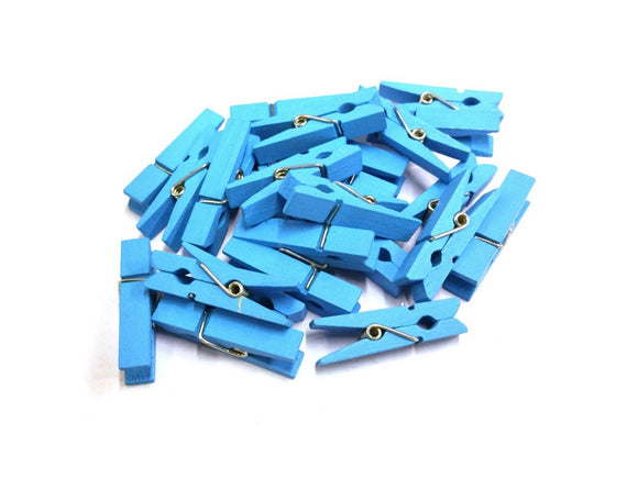 Light Blue mini pegs 3 5cm wood small wooden peg clip clamp wood
