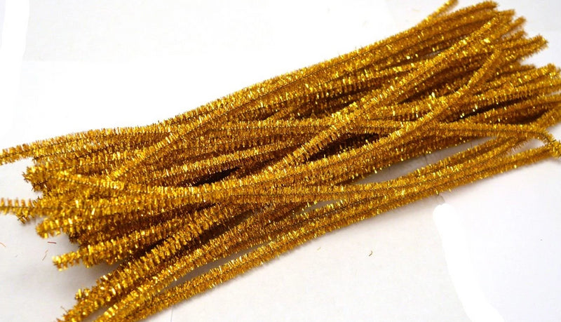 Gold Sparkle pipe cleaners chenille craft pipe cleaner 30cm 12 inch uk supplier