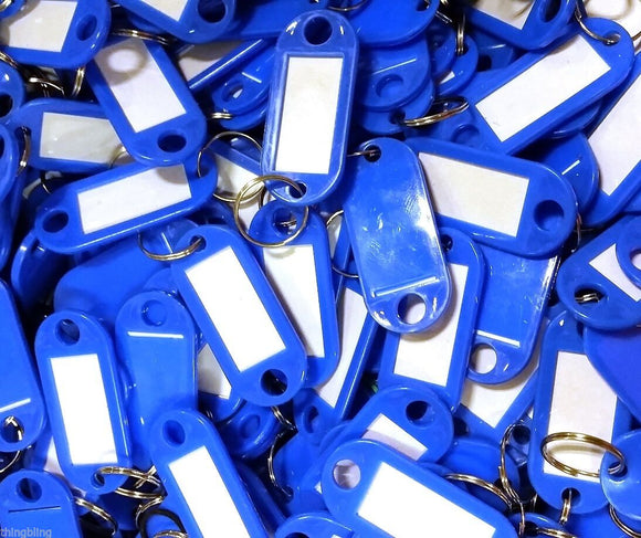 Key Tags with Key Ring   Blue   Pack of 100 Things4craft UK Craft Companay