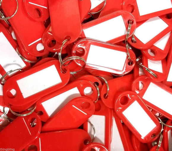 Key Tags with Key Ring   Red   Pack of 10 Things4craft UK Craft Companay