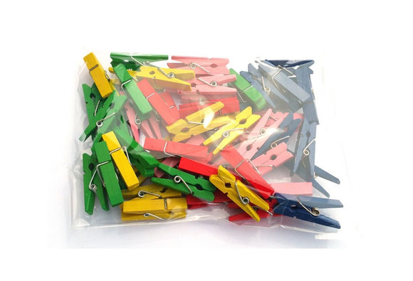 Mixed Colours mini pegs 3 5cm wood small wooden peg clip clamp wood