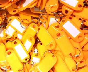 Key Tags with Key Ring   Yellow   Pack of 100 Things4craft UK Craft Companay