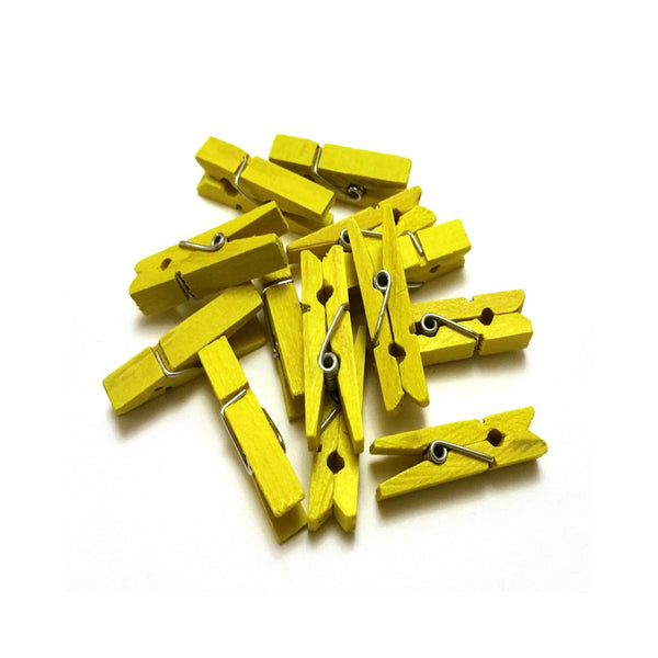 Yellow mini pegs 3 5cm wood small wooden peg clip clamp wood