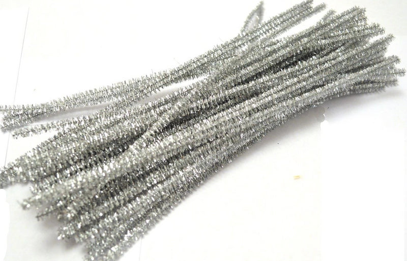 Silver Sparkle pipe cleaners chenille craft pipe cleaner 30cm 12 inch uk supplier