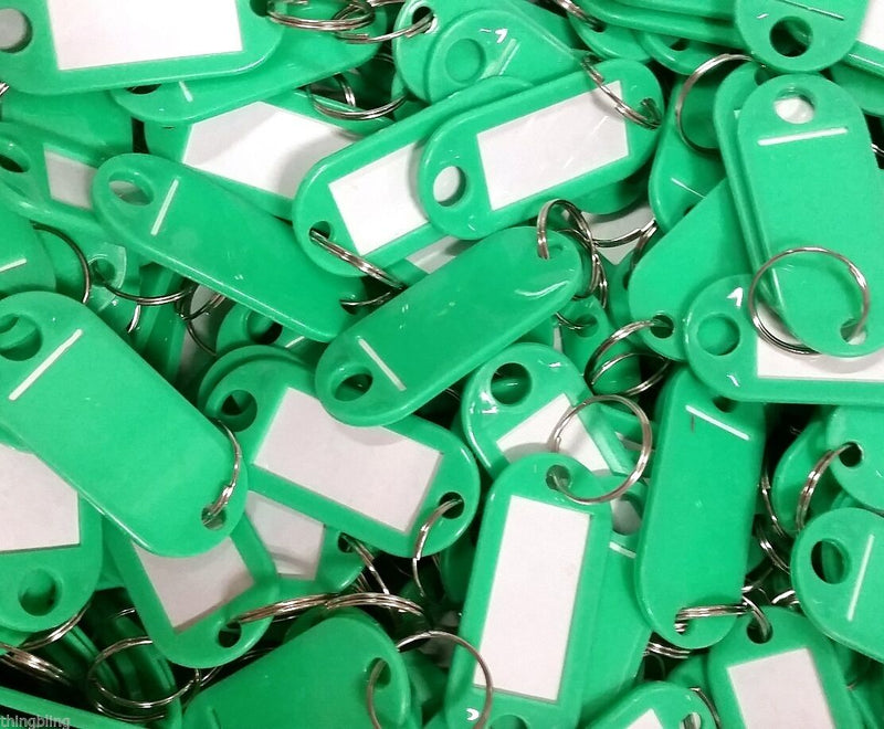 Key Tags with Key Ring   Green   Pack of 100 Things4craft UK Craft Companay