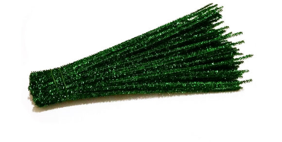 Green Sparkle pipe cleaners chenille craft pipe cleaner 30cm 12 inch uk supplier