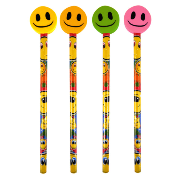 4 Smile Pencils with Eraser Topper
