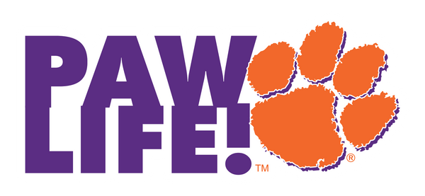 PAWLIFE! Horizontal with Paw - Clemson Decal - PAWLIFESTORE